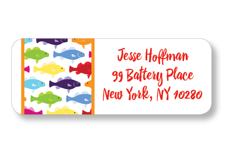 rainbow fish return address label idesign co